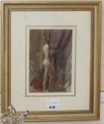 English School, watercolour, Standing female nude, inscribed verso 'Brabazon Brabazon' in a later