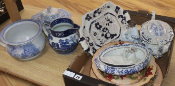 A Victorian blue and white and other pottery items