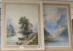 Edwin Earp (1851-1945) pair of watercolours, Loch scenes, signed, 53 x 41cm