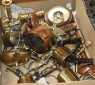 Five small brass blow torches and a collection of miscellaneous metalware, including two brass-