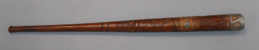 An Australian carved wood staff or whip handle c.1890-1910, decorated with an emu and kangaroo, good