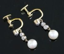 A pair of Edwardian gold, cultured pearl? and diamond drop ear clips, 22mm.