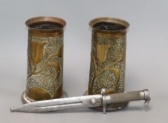 A Scandinavian bayonet and two trench art shell vases height 22cm
