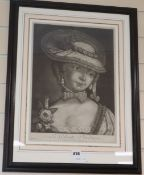 Early 19th century French School, pair of mezzotints, La Liseuse and La Gallante Jardiniere, 42 x