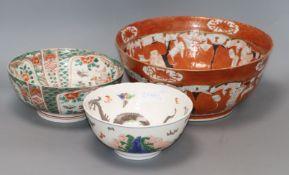 Three various Japanese bowls largest diameter 30.5cm