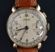A gentleman's 1950's? 18ct gold Ardath chronograph manual wind wrist watch, with Arabic and dot