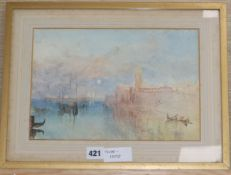 After Turner, watercolour, Venice moonrise, inscribed verso, 21 x 30cm