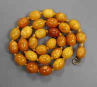 A single strand oval amber bead necklace, gross 35 grams, 50cm.