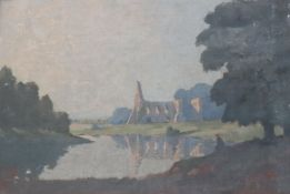 James Campbell Howard (1906-) oil on board, Newark Priory, signed, 34 x 50cm