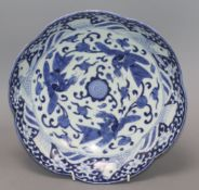 An Arita blue and white lobed dish diameter 30cm