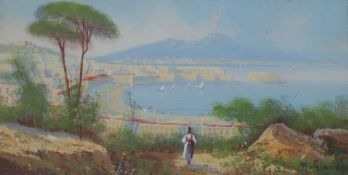 M. Gianni, gouache, View of Vesuvius and the Bay of Naples, signed, 15 x 30cm