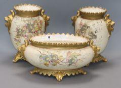A garniture of three Royal Bonn vases tallest 25.5cm