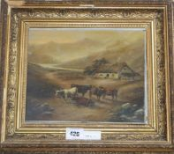 19th century English School, oil on board, Cattle and cottage in a landscape, 23 x 28cm