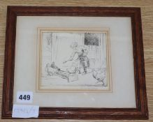 Eileen Soper (1905-1990), etching, Girl feeding chickens, signed in pencil, 12 x 14cm