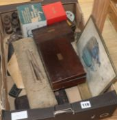 A Victorian rosewood draughtsman's set and sundries