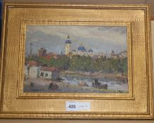 Aleksandr Sokolov (1918-1973), oil on board, The Fontanka, Leningrad, signed, 23 x 34cm