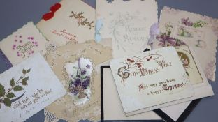 A collection of Victorian and early 20th century greetings and remembrance cards, loose and one