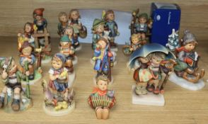 Sixteen Hummel figures including stormy weather