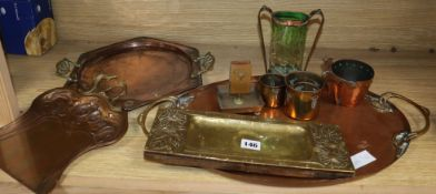 A quantity of Art Nouveau and Art and Crafts copper and brassware
