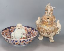 A Satsuma koro (cover a.f), an Imari bowl and a Buddha bowl diameter 31cm
