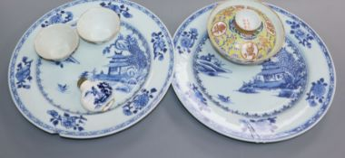 Two 18th century Chinese Nanking cargo plates, a bowl and a snuff bottle and two 19th century