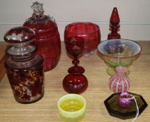 A collection of cranberry, ruby and mixed coloured glassware (11)