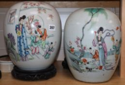 Two Chinese famille rose jars, lacking covers, associated hardwood stands height 27cm excluding