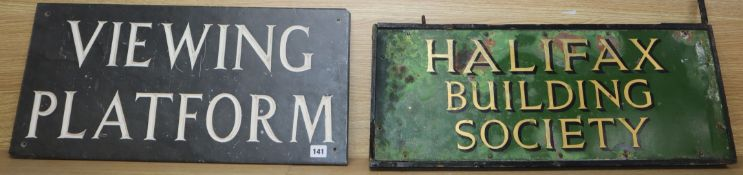 Two signs: Halifax Building Society and Viewing Platform in tin and slate