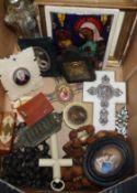 A Limoges enamel icon, a crucifix etc