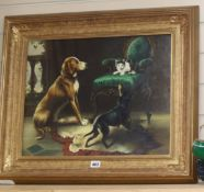 G. Me Tsu, oil on board, Dogs and a cat, signed, 40 x 50cm