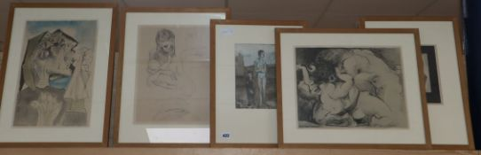After Picasso, seven assorted prints, largest 29 x 37cm