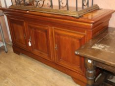A reproduction French provincial style cherry sideboard W.196cm