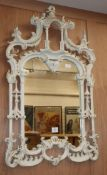 A painted Chinese Chippendale style mirror W.63cm