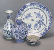 A Chinese blue and white moon flask, charger etc largest diameter 41cm