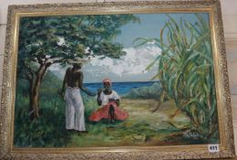 M. Melville, oil on board, Jamaican scene with figures beside the shore, signed and dated 1960, 40 x