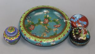 A Chinese cloisonne enamel bowl, two boxes and a jar and cover
