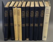 Jane's - Jane's All the World's Aircraft, 10 vols (years 1952/53 and 1959/60 with dj's), qto, cloth,