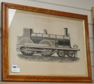 John Swain, engraving, Express Locomotive, South Eastern Railway, 37 x 53cm, maple framed
