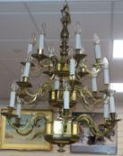 A restored brass 15 light electrolier
