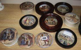 Five framed Prattware pot lids, two unframed pot lids and three lidded pots (10)
