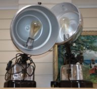A pair of converted heater lamps