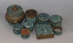 A collection of Eastern, brass and turquoise boxes and a napkin ring