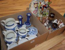 A quantity of ornamental china including Staffordshire figures, Wedgwood and a Burmantoft jardiniere