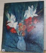 Philip Naviasky (1894-1982) oil on board, Still life of flowers in a vase, signed, 61 x 50cm,