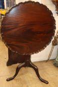 A George III mahogany tilt top piecrust tea table Diam. 70cm (restored)