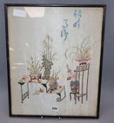 A Chinese embroidered silk picture of antiques 45 x 36cm