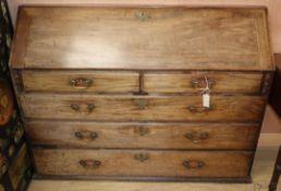 A modified George III mahogany bureau W.138cm