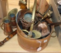 Brass fire irons and other mixed metalwares