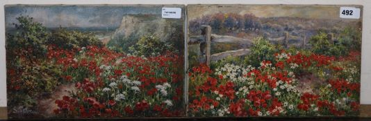 Sidney Shelton (fl. 1881-1889), Poppies by a Coastal Path and companion piece, a pair, signed, oil
