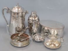 A group of mixed plated wares including Sheffield plate oval box